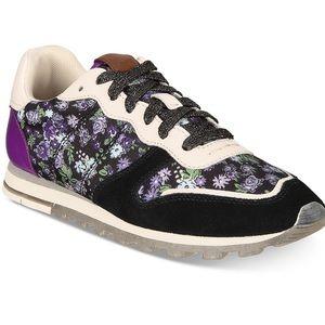 Coach C118 Black Floral Studded Tennis Shoes NEW10